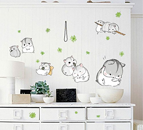 Pesp® Baby Kids Cute Hamster Wall Stickers Decorative Nursery Decor Art Mural Removable
