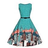 Kittoze Vintage Sleeveless Picnic Party Cocktail Dress Print Swing Dress