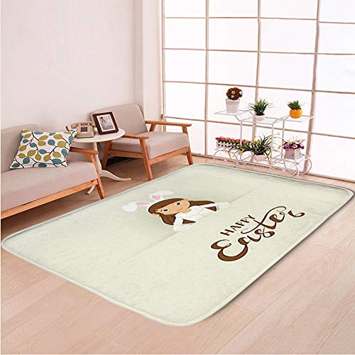 Home Decor Bathroom WC Rug Living Room Carpets Door Mat Indoor Rugs,Cute Girl Easter Bunny Costume,Bedroom Floor Mats]()