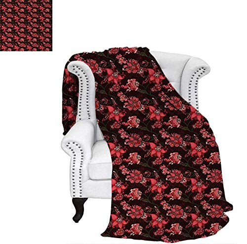 (Warm Microfiber All Season Blanket Paisley with Nostalgic Oriental Inspirations Blooming Valentines Day Love Bouquet Print Artwork Image 62