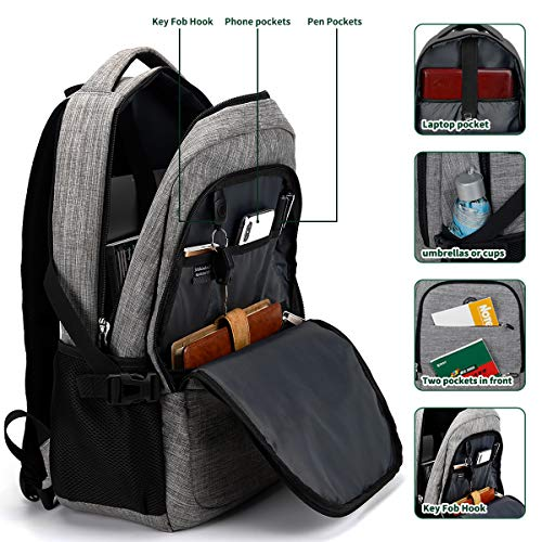 SOLDIERKNIFE Durable Waterproof Anti Theft Laptop Backpack Travel Backpack Bookbag with usb Charging Port for Women /& Men Fits 15.6 Inch Laptop and Notebook Including Lock Grey