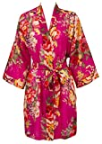 Leisureland Women's Cotton Lightweight Short Kimono Robe Vintage Floral 36'' (One Size, Style #3 Raspberry)