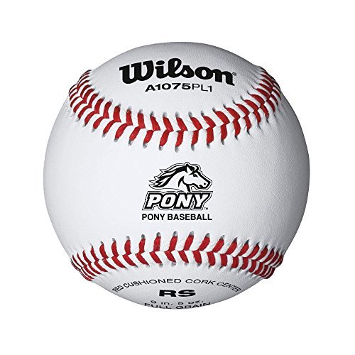 Wilson Pony League Raised Seam Baseball (12 Pack), White (Bat Pony)
