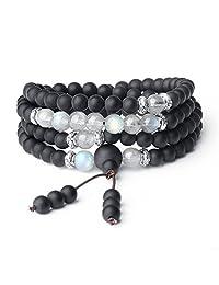 AmorWing Tibetan 108 Mala Beads Tiger Eye Matte Onyx Semi Precious Stones Bracelet/Necklace 6mm