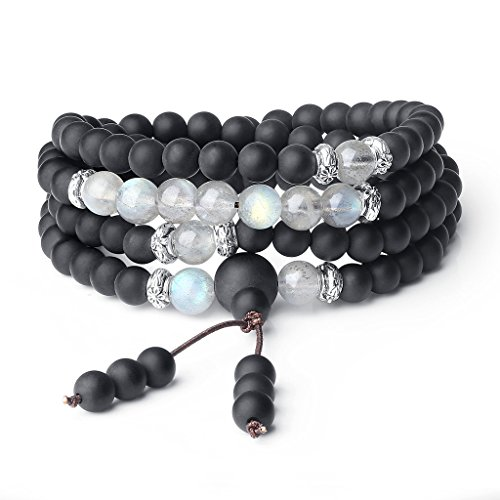 (AmorWing Buddhist Prayer Beads Matte Onyx Labradorite 108 Mala Wrap Bracelet Necklace)