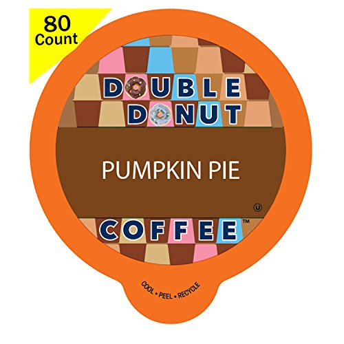 Double Donut Flavored Coffee, Recyclable Single Serve Cups for Keurig K Cup Brewers (Pumpkin Pie, 80 Count)