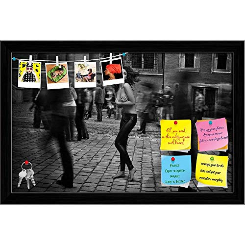 Artzfolio Topless Brunette Startled in The Street Crowd Printed Bulletin Board Notice Pin Board | Black Frame 18.3 X 12Inch