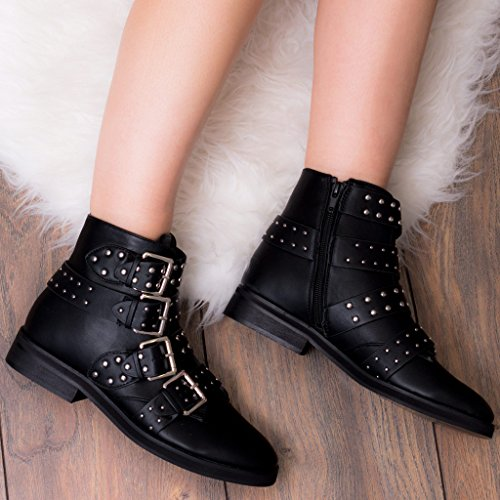 Style Black Biker Spylovebuy Leather Flat Shoes Ankle Boots Women's Chase Fnq0qxazP