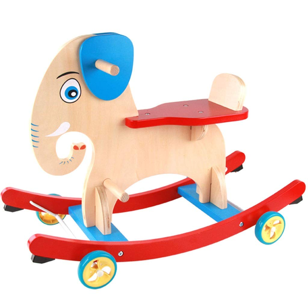 Unbekannt FRF Trojaner- Hölzernes Pferdespielzeug des Innenkinderkarikaturelefanten, pädagogisches Spielzeug des hölzernen Schaukelpferds des Säuglings (Farbe   rot Blau, Größe   69.6x34.8x49.5cm) rot Blau 69.6x34.8x49.5cm