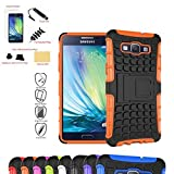 Mama Mouth Shockproof Heavy Duty Combo Hybrid Rugged Dual Layer Grip Case Cover with Kickstand For Samsung Galaxy A5 A500 (With 4 in 1 Free Gift Packaged:Black Stylus Touch Pen,Black Silicone Fish Headset Wrap,Black Micro USB Port Anti Dust Plugs,Black 3.5mm Headphone Jack Anti Dust Plugs), Orange