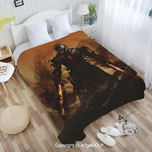 - AngelDOU Flannel Printed Lightweight Throw Blanket W72 xL86 Robot Warrior Terminator at War Fire Sword Weapon Paint Style Futuristic for All Season Sofa Bedding Blankets.
