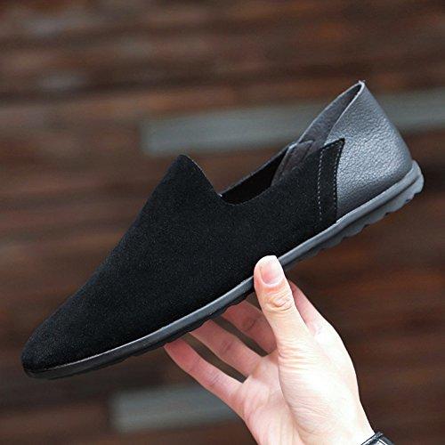 Cuir Bateau Noir Taille Grande De Sk Loafers Hommes Conduite Mocassins Studio Chaussures Plat qwaZBft