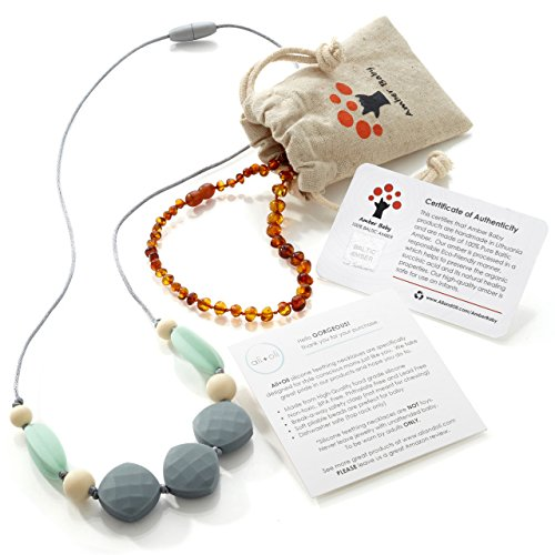 Baltic Amber Teething Necklace for Baby (Cognac) and Silicone Teething Necklace Gift Set for Mom and Baby - 100% BPA Free Baby Chew Bead Necklace - Organic Baltic Teething Amber -