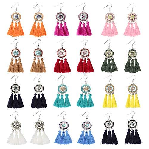 12 Pairs Hoop Tassel Earrings for Women & Girls by JieyueJewelry, Bohemian Fan Tassel Drop Earrings Fish Hook Dangle Earrings Statement Earrings (Style-2) ()