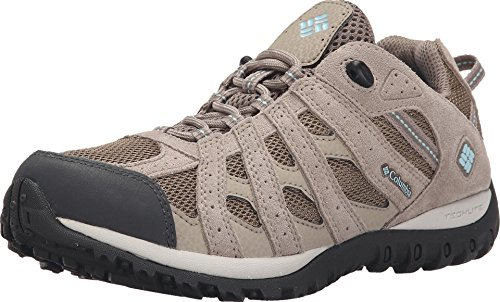 Columbia Women's Redmond Waterproof Hiking Boot, Pebble, Sky Blue, 8.5 Regular US