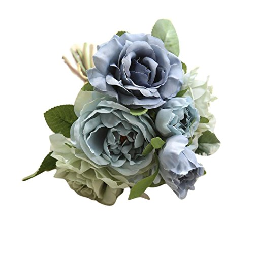 Rose Bouquet,Han Shi Artificial Fake Flowers Wedding Party Home Decor Floral Fake Flowers (S, Blue)