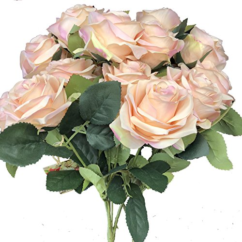 DALAMODA 2 Bundles (with total 20 heads) Pink Champagne Rose Flower Bouquet, for DIY any Decoration Artificial Silk Flower - Pink And Champagne Wedding