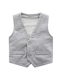 Motteecity Little Boys Vest Gentle Buttons V-Neck