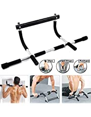 Alextreme Pull Up Sit Up Door Bar Portable Chin-Up for Upper Body Workout Doorway (Black White)