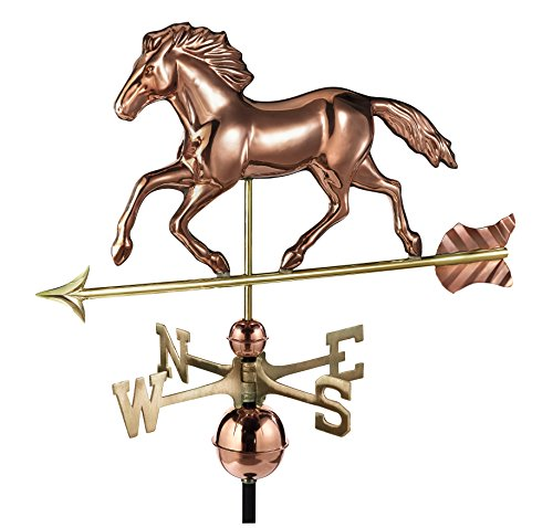 Large Horse Weathervane - Good Directions Smithsonian Running Horse Weathervane, Pure Copper