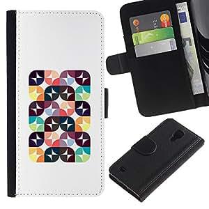 All Phone Most Case / Oferta Especial Cáscara Funda de cuero Monedero Cubierta de proteccion Caso / Wallet Case for Samsung Galaxy S4 IV I9500 // Abstract Poly Art Polygon Pattern White