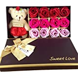 12 Bath Soap Rose Flower, MrPro Flora Scented Flower Set with Baby Bear Doll, (Preservative Free) Plant Essential Oil Soap, Gift for Valentine's Day/Mother's Day (12 Red)