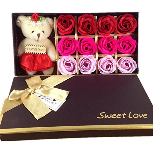 12 Bath Soap Rose Flower, MrPro Flora Scented Flower Set with Baby Bear Doll, (Preservative Free) Plant Essential Oil Soap, Gift for Valentine's Day/Mother's Day (12 Red) (Valentines Day)