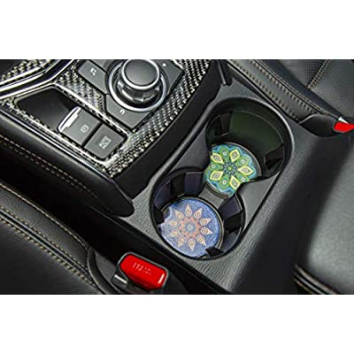 Car Cup Holder Coasters - Set of 4 Pack, Absorbent Ceramic Stone with A Finger Notch for Easy Removal of Auto Cupholder Coaster,Best Accessory Keep Vehicle Free from Cold Drink Sweat, Stain and Spill: Kitchen & Dining