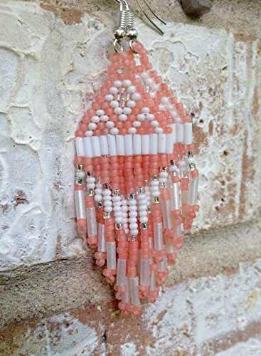 (Pink Coral and Silver Native American Inspired Beaded Earrings - BACK IN STOCK!)