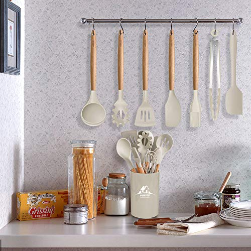 Wooden Handles MIBOTE 17 Pcs Silicone Cooking Kitchen Utensils Set with Holder