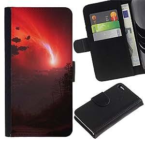 // PHONE CASE GIFT // Moda Estuche Funda de Cuero Billetera Tarjeta de crédito dinero bolsa Cubierta de proteccion Caso Apple Iphone 4 / 4S / Red Sky /