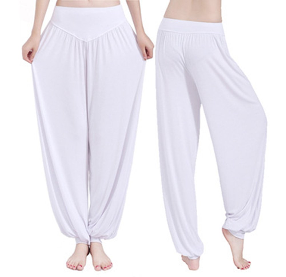 White 21 Weimay Yoga Pantalones Pantalones Largos Baggy Pantalones El/ásticos para Mujeres Size S