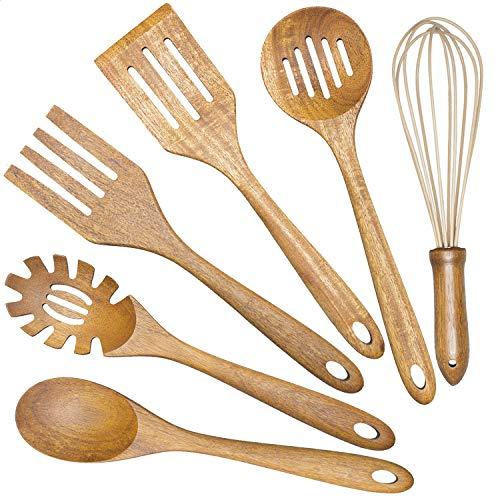 Wooden Cooking Utensils Set,Teak Wood Kitchen Utensils Set, 6 Pcs Wooden Spoons for Cooking Spatula Wood Slotted Spoon…