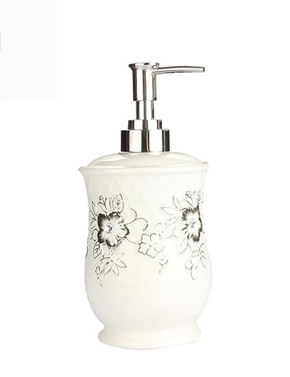Dispensador de jabón Patrón Creativo Jabón Cerámico Dispensador Champú Botella Líquida Mano - Lavando Botella Líquida