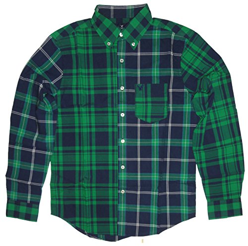 Juniors American Eagle (American Eagle Men's Long Sleeve Patchwork Button Down Shirt Green Plaid (Small))