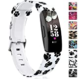 Maledan Patterned Bands Compatible with Fitbit Inspire HR/Inspire/Ace 2, Fadeless Pattern Printed Strap Replacement Band for Inspire HR Fitness Tracker and Ace 2, Paw Print, Small