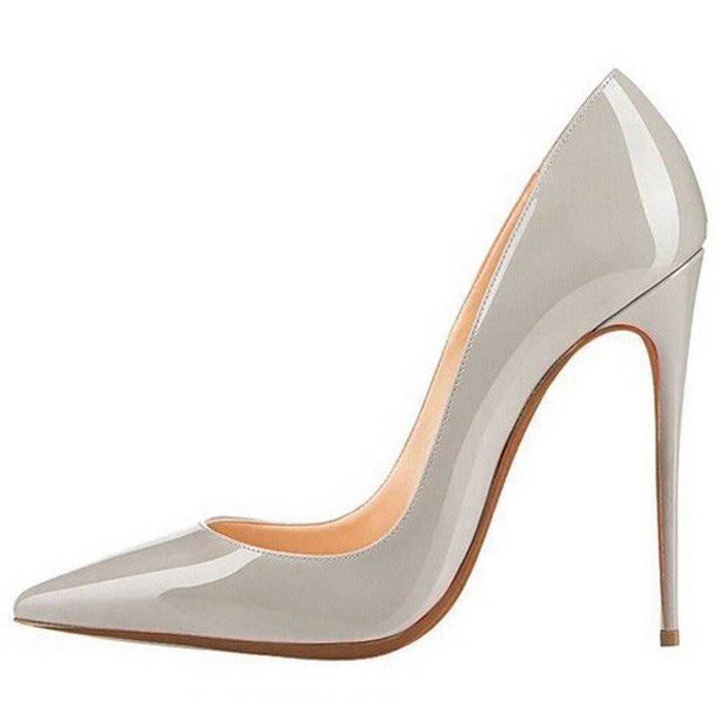 Jushee Damen Sexy Klassische Schwarz Stiletto High Heels Kleid Buuml;ro Pumps43 EU|Grau01