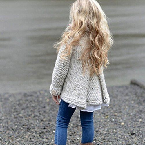ZLOLIA Baby Clothes Set Autumn Winter Toddler Girls Coat Tops Cardigan Solid Outfit Button Knitted Sweater For 2-8 Year Kids (90, Beige) by ZLOLIA (Image #4)