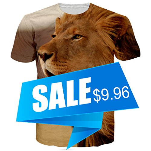 RAISEVERN Unisex Wrathful Lion Print Short Sleeve Crewneck T-Shirts Tops