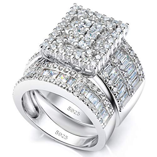 Pophylis Platinum Over Sterling Silver Big Womens Bridal Rings Set Bling Princess Cut Cubic Zirconia Size 5/6/7/8/9/10