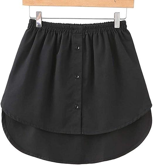 Adjustable Layering Fake Top Lower Sweep Skirt,Women Ladies Fake False Shirt Tail Blouse Hem Cotton Detachable Underskirt
