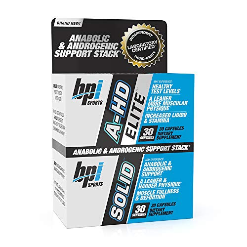 BPI Sports A-HD Elite/Solid (30 Capsules) - Men's Testosterone Booster - Healthy Muscle, Strength, & Performance Support - Promotes Natural Fat Loss & Libido - 30 Servings - 550mg