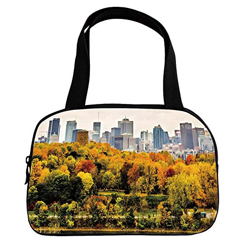 Polychromatic Optional Small Handbag Pink,Fall,Montreal Downtown Skyscrapers Autumn Various Trees Colorful Forest Urban Life Nature,Multicolor,for Girls,Print ()