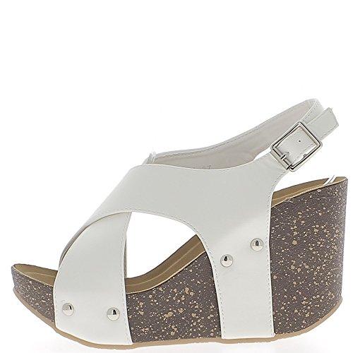 Sandales compensées blanches à talon 10 cm avec larges brides entrecroisées
