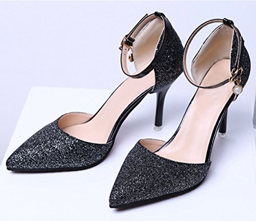 AIYOUMEI Womens Ankle Strap Glitter Pointed Toe Stiletto High Heels Strappy Pumps Elegant Shoes Black w6hdF2