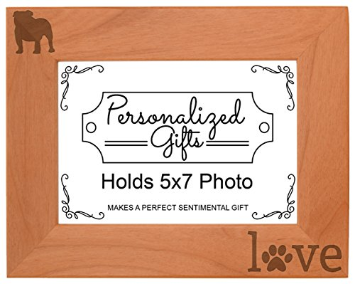 English Bulldog Gifts Paws Dog Owner Love Natural Wood Engraved 5x7 Landscape Picture Frame Wood