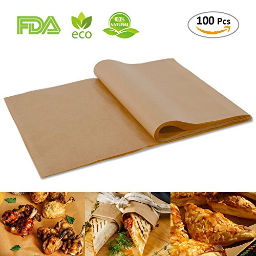 100pcs Unbleached Parchment Paper Baking Liners Sheets, Precut 12×16 inches Non-stick Wax Paper for Cook, Grill, Steam, Pans, Air Fryers, Hamburger Patty Paper (Parchment Bread)
