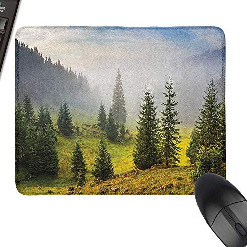 Nonslip Rubber Base Forest,Fir Trees on Meadow Between Hillsides with Conifer Forest in Fog Before Sunrise, White Green Large Mouse pad 9.8 x11.8 INCH ()
