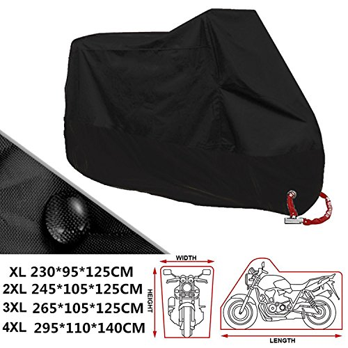 ANFTOP Motorrad Abdeckung 4XL Motorrad Garage Scooter Abdeckplane Schwarz Farbe Lock Löcher Wasserdicht UV Schutz…