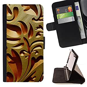 DEVIL CASE - FOR Apple Iphone 5 / 5S - Interior Design Wood Carving Art Architecture - Style PU Leather Case Wallet Flip Stand Flap Closure Cover
